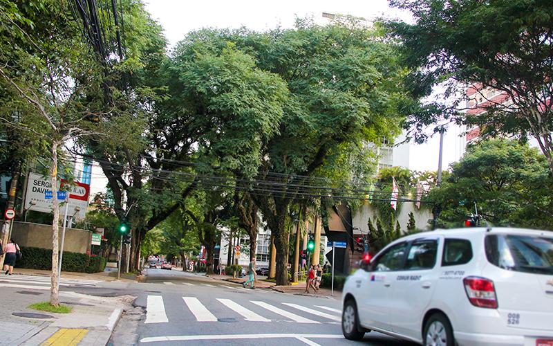 Travessia de pedestre em uma rua dos Jardins